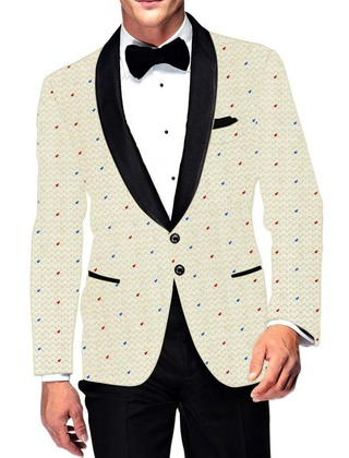 Mens Slim fit Casual Ivory Cotton Blazer sport jacket coat Red and Blue Dotted