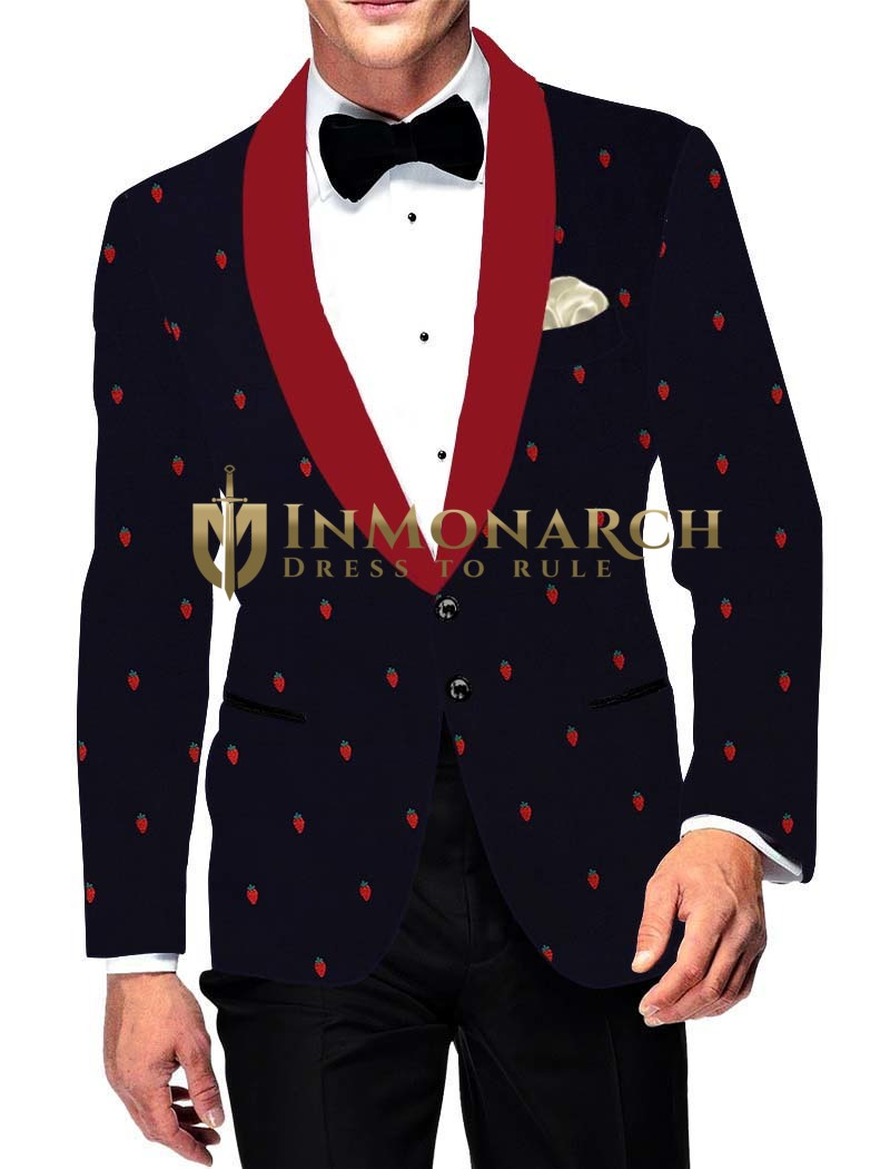 Mens Slim fit Casual Dark Navy Cotton Blazer sport jacket coat Cherry Print