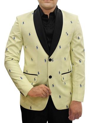 Mens Yellow Cotton Blazer Polo Rider Print