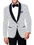 Mens Slim fit Casual White Cotton Blazer sport jacket coat Fishes Print