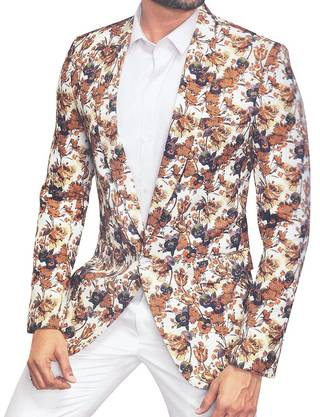 Mens Slim fit Casual Silver Cotton Blazer sport jacket coat Paisley Printed