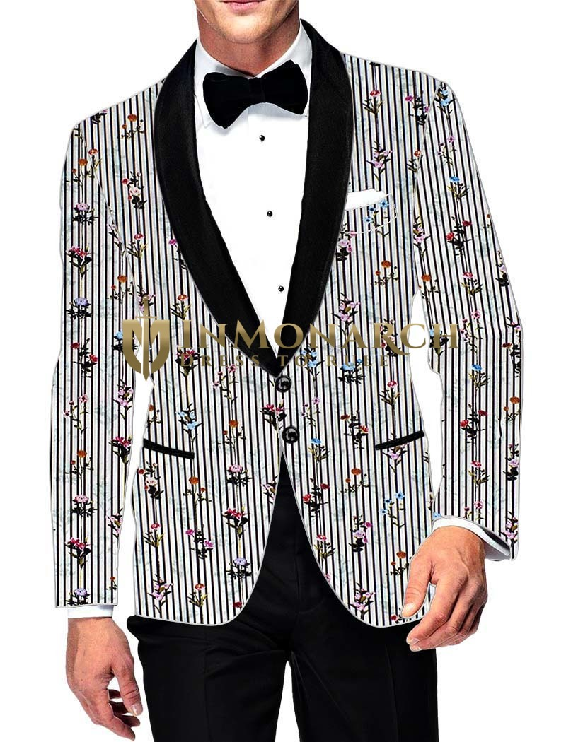 Mens Slim fit Casual White Cotton Blazer sport jacket coat Black Lining Print