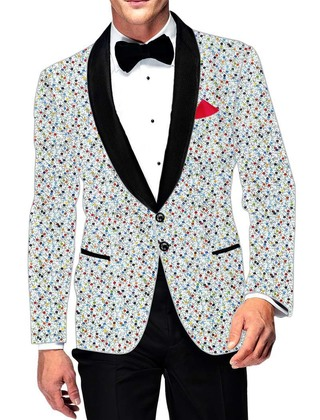 Mens Slim fit Casual Cream Cotton Blazer sport jacket coat Multicolor Printed