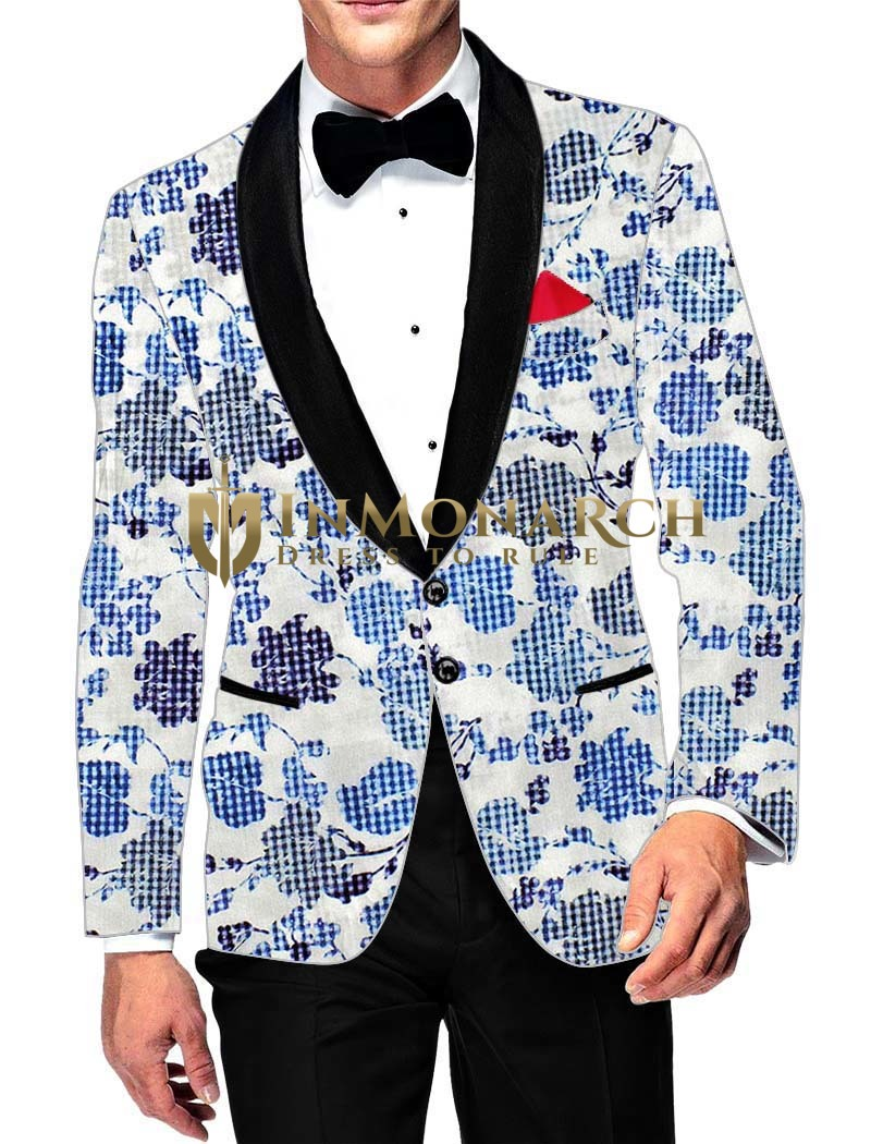Mens Slim fit Casual White Cotton Blazer sport jacket coat Sky Blue Printed