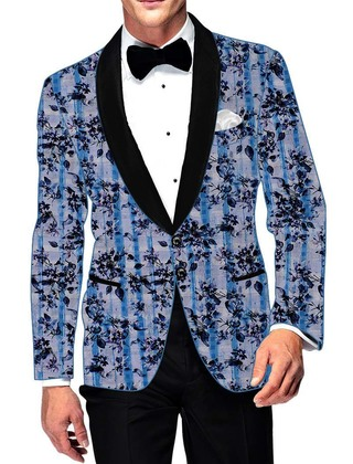 Mens Slim fit Casual Sky Blue Cotton Blazer sport jacket coat Floral Print