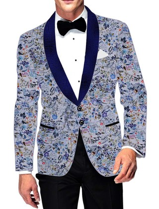 Mens Slim fit Casual Sky Blue Cotton Blazer sport jacket coat Flower Design Print