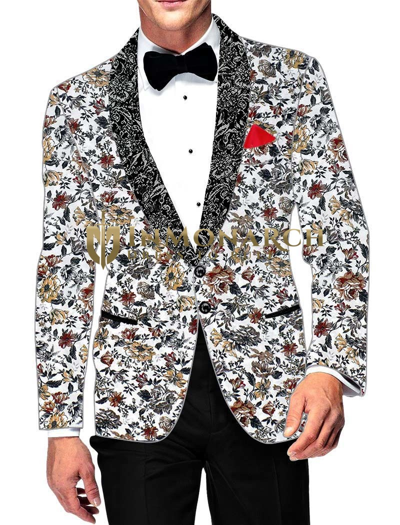 Mens Slim fit Casual White Cotton Blazer sport jacket coat Gray Flower Printed