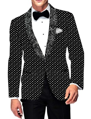 Mens Slim fit Casual Black Cotton Blazer sport jacket coat White Design Print