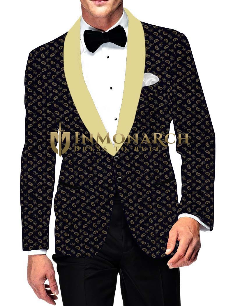 Mens Slim fit Casual Dark Navy Cotton Blazer sport jacket coat Paisley Print