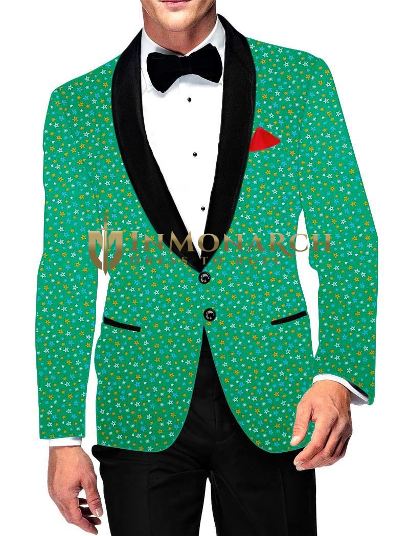 Mens Slim fit Casual Green Cotton Blazer sport jacket coat Bollywood Printed