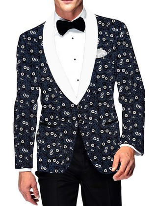Mens Slim fit Casual Dark Navy Cotton Blazer sport jacket coat Paisley Design