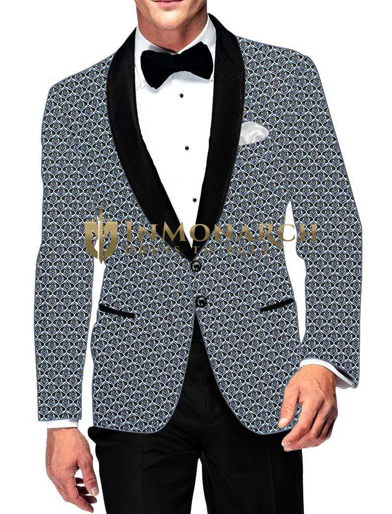 Mens Slim fit Casual Cyan Cotton Blazer sport jacket coat Hawaiian