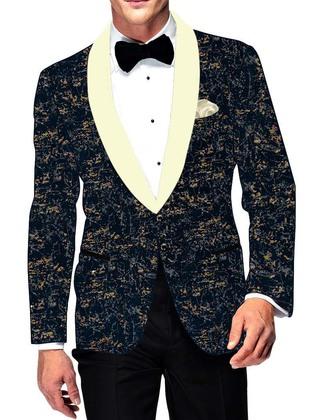 Mens Dark Navy Cotton Blazer Partywear
