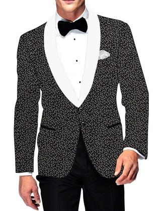 Mens Black Cotton Blazer Bollywood Style