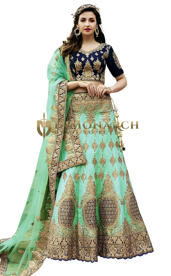 Turquoise and Navy Blue Raw Silk Lehenga Choli
