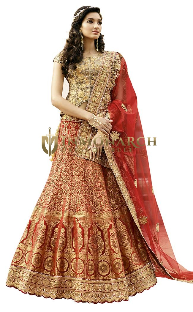 Bridal Red and Silver Silk Lehenga Choli