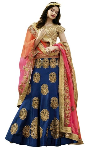 Indian Dark Navy Raw Silk Lehenga Choli