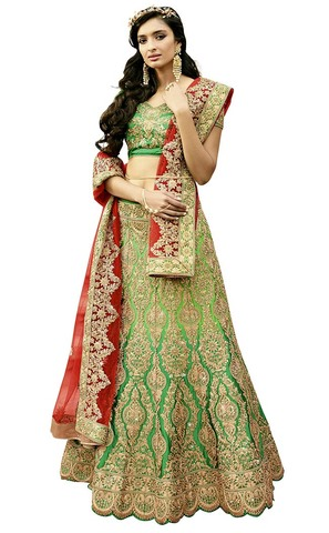Shaded Light Green Satin Silk Lehenga Choli