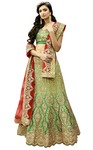 Shaded Light Green Satin Silk Lehenga Choli