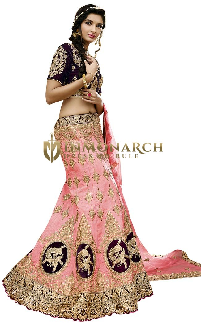 Designer pink and purple Lehenga Choli