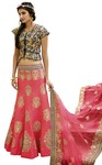 Crimson Red Raw Silk Lehenga Choli