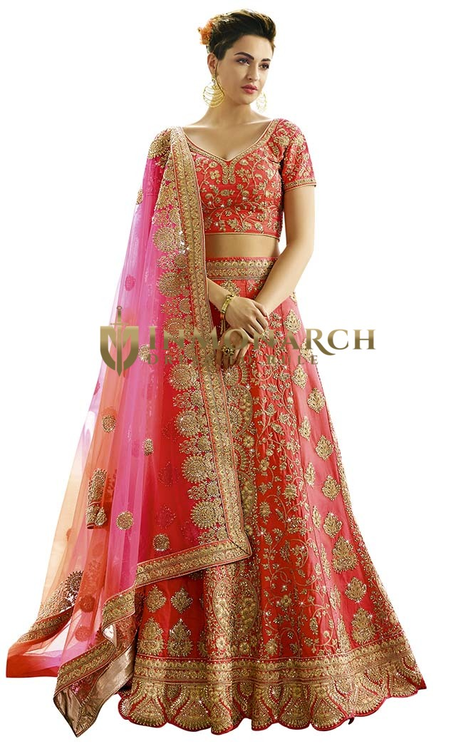 Wedding Crimson Red Raw Silk Lehenga