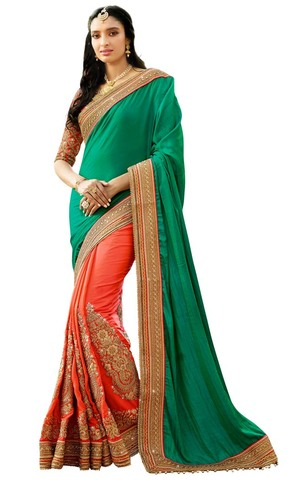 Salmon and Teal Silk Bridal Saree
