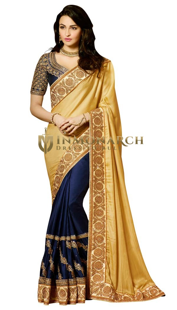 Golden and Navy Blue Silk Saree