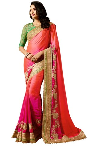 Salmon and Purple Crepe Partywear Saree