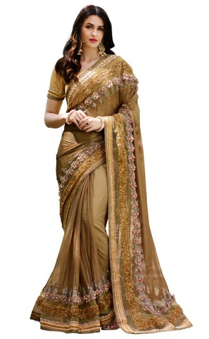 Olive Darb Imported Lycra Net Bridal Saree