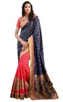 Crimson Red and Navy Blue Silk Saree