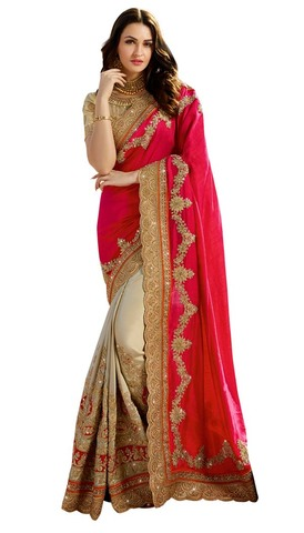 Beige and Crismon Silk Designer Saree