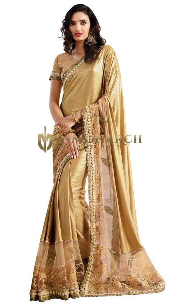 Golden Lycra Net Patch Wedding Saree