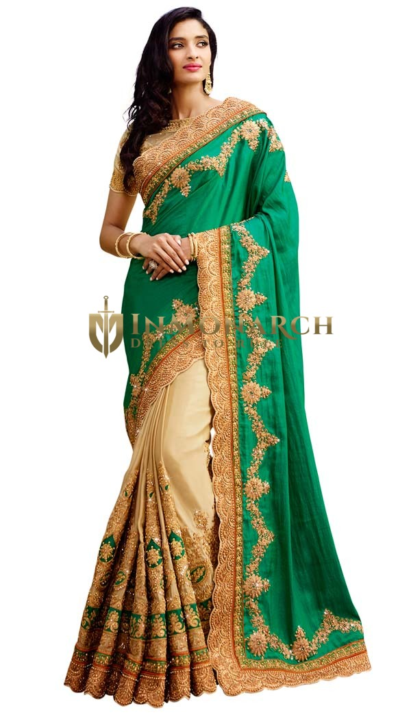 Beige and Teal Silk Bridal Saree