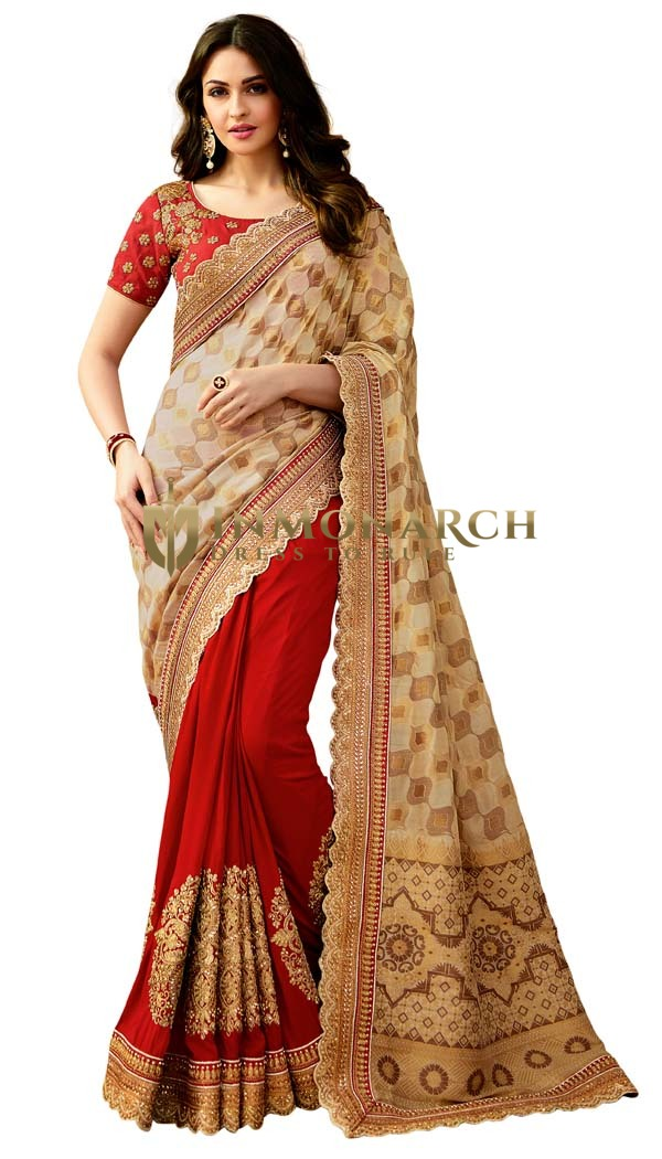 Ivory and Red Jacquard Silk Designer Saree