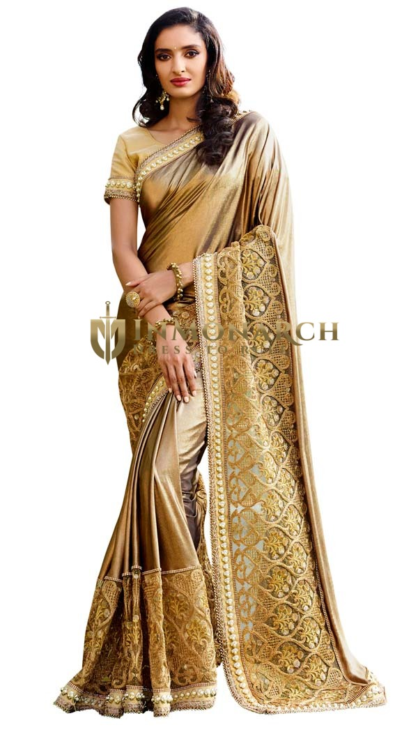 Golden Imported Lycra Net Bridal Saree