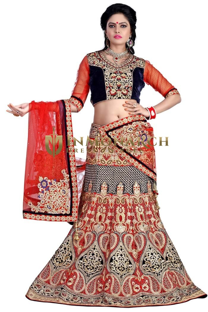 Red Silk and Navy Blue Velvet Lehenga