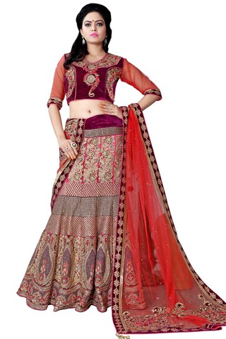 Pink Net and Purple Velvet Lehenga Choli