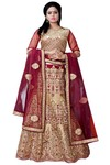 Magenta and Beige Silk Lehenga Choli