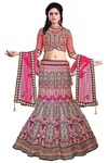 Pink Net and Blue Velvet Wedding Lehenga