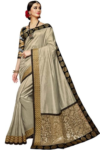 Bridal Light Gray Silk Partywear Saree