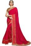 Crimson Silk and Jacquard Silk Bridal Saree