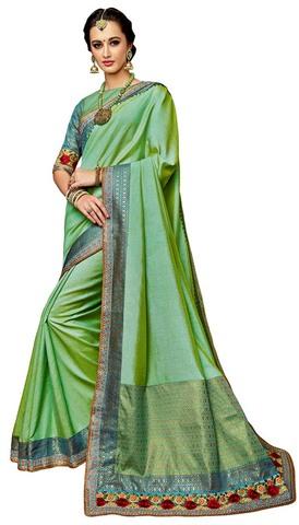 Light Green Dual Tone Silk Wedding Saree