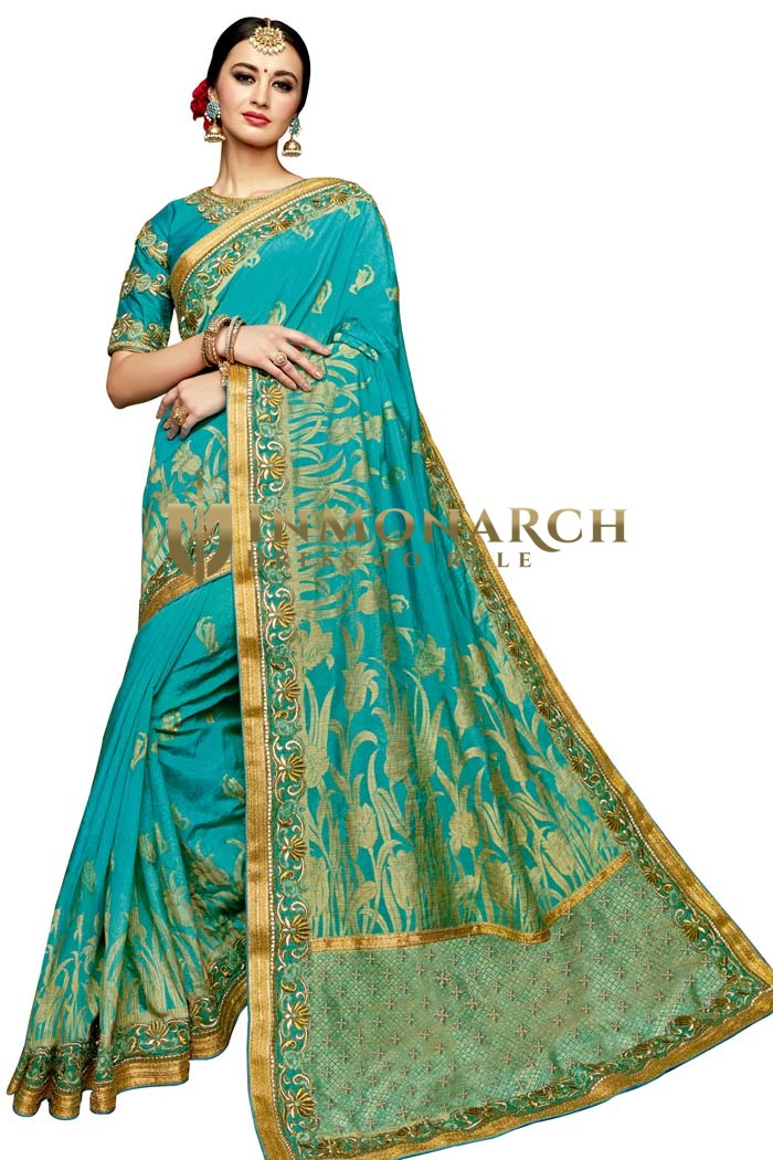 Ethnic Teal Blue Jacquard Silk Saree