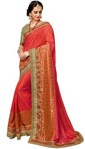Traditional Red Dual Tone Silk Saree