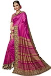 Stylish Magenta Silk Partywear Saree