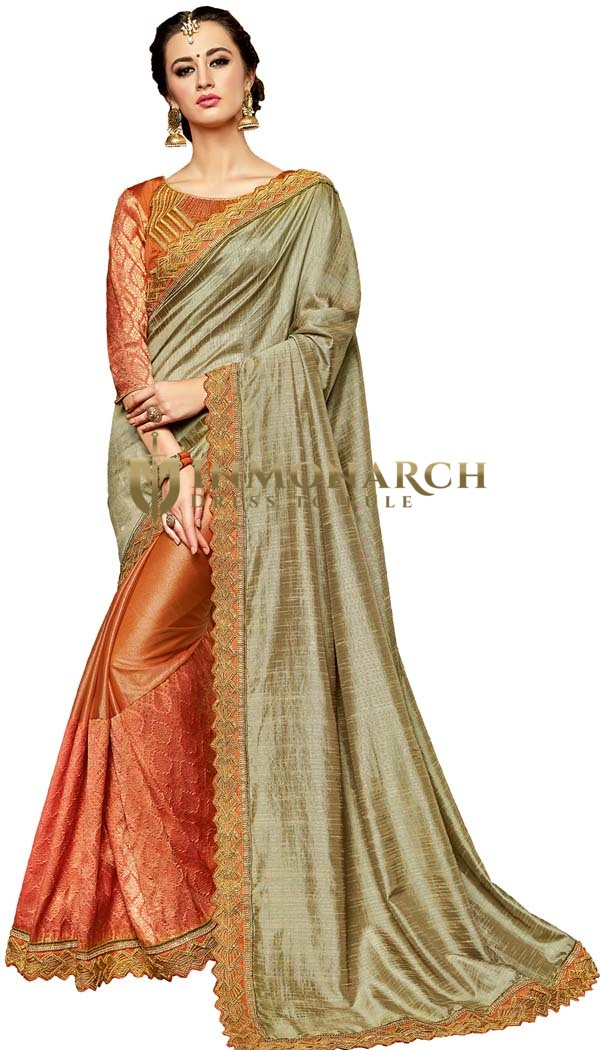 Rust and Bronze Jacquard Silk Saree