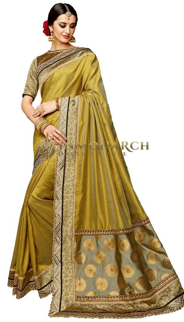 Golden Dual tone Silk Wedding Saree