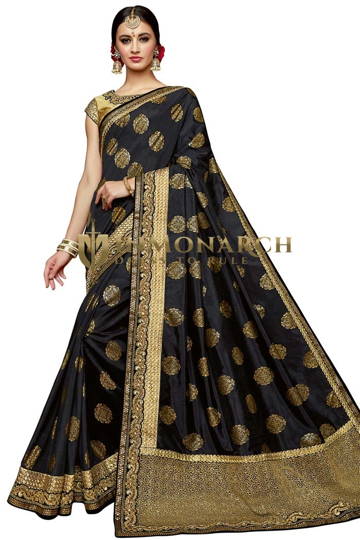 Black and Brown Silk Partywear Saree
