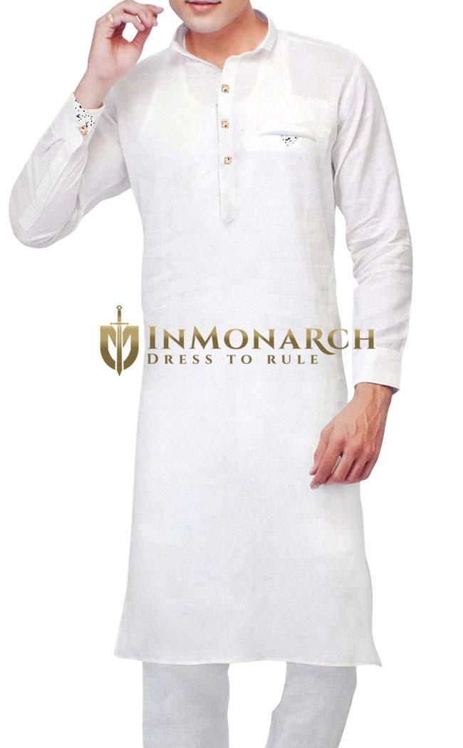 Sherwani for Men White Kurta Pyjama Stylish Linen Kurta Pajama